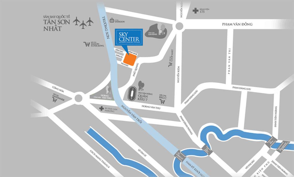 Vị trí căn hộ Sky Center Tân Bình