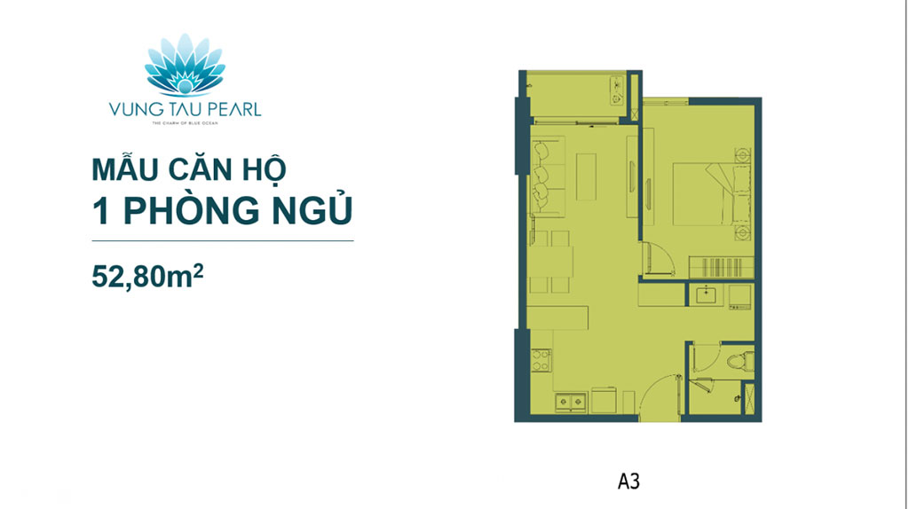 Mẫu căn hộ 1 phòng ngủ dự án Vũng Tàu Pearl Hưng Thịnh