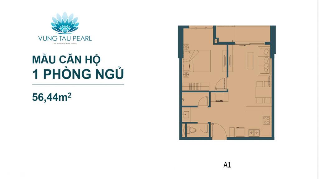 Mẫu căn hộ 1 phòng ngủ dự án Vũng Tàu Pearl