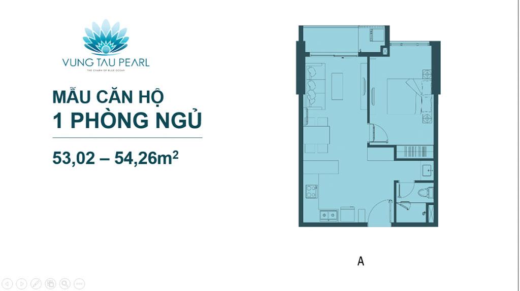 Mẫu căn hộ 1 phòng ngủ Vũng Tàu Pearl Hưng Thịnh