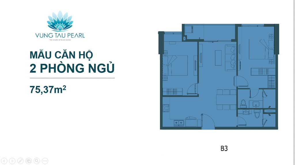 Mẫu căn hộ 2 phòng ngủ của Vũng Tàu Pearl Hưng Thịnh