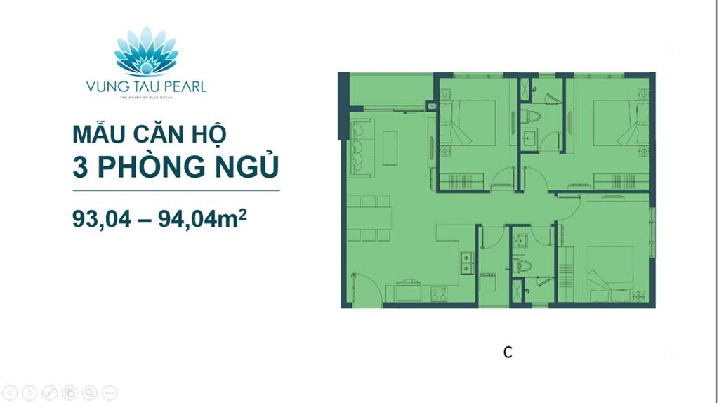 Mẫu căn hộ 3 phòng ngủ của Vũng Tàu Pearl Hưng Thịnh