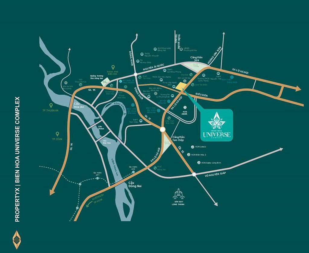 Vị trí và vị trí kết nối căn hộ Biên Hòa Universe Complex