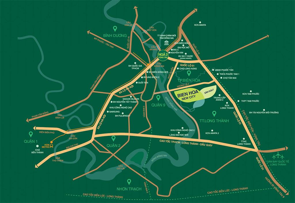 Vị trí dự án Biên Hòa New City Hưng Thịnh