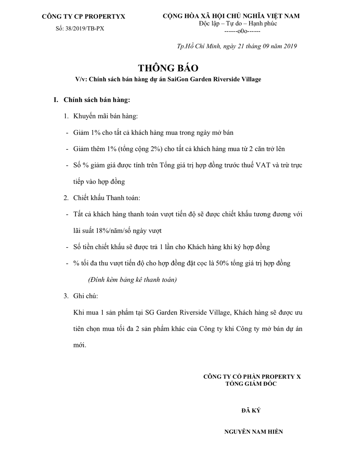 Chính sách bán hàng Saigon Garden Riverside