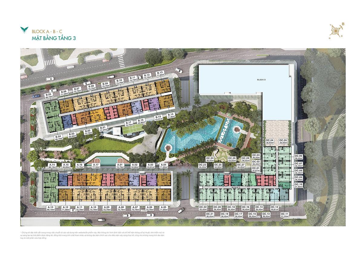 Mặt bằng căn hộ tầng 3 dự án Lavita Thuận An