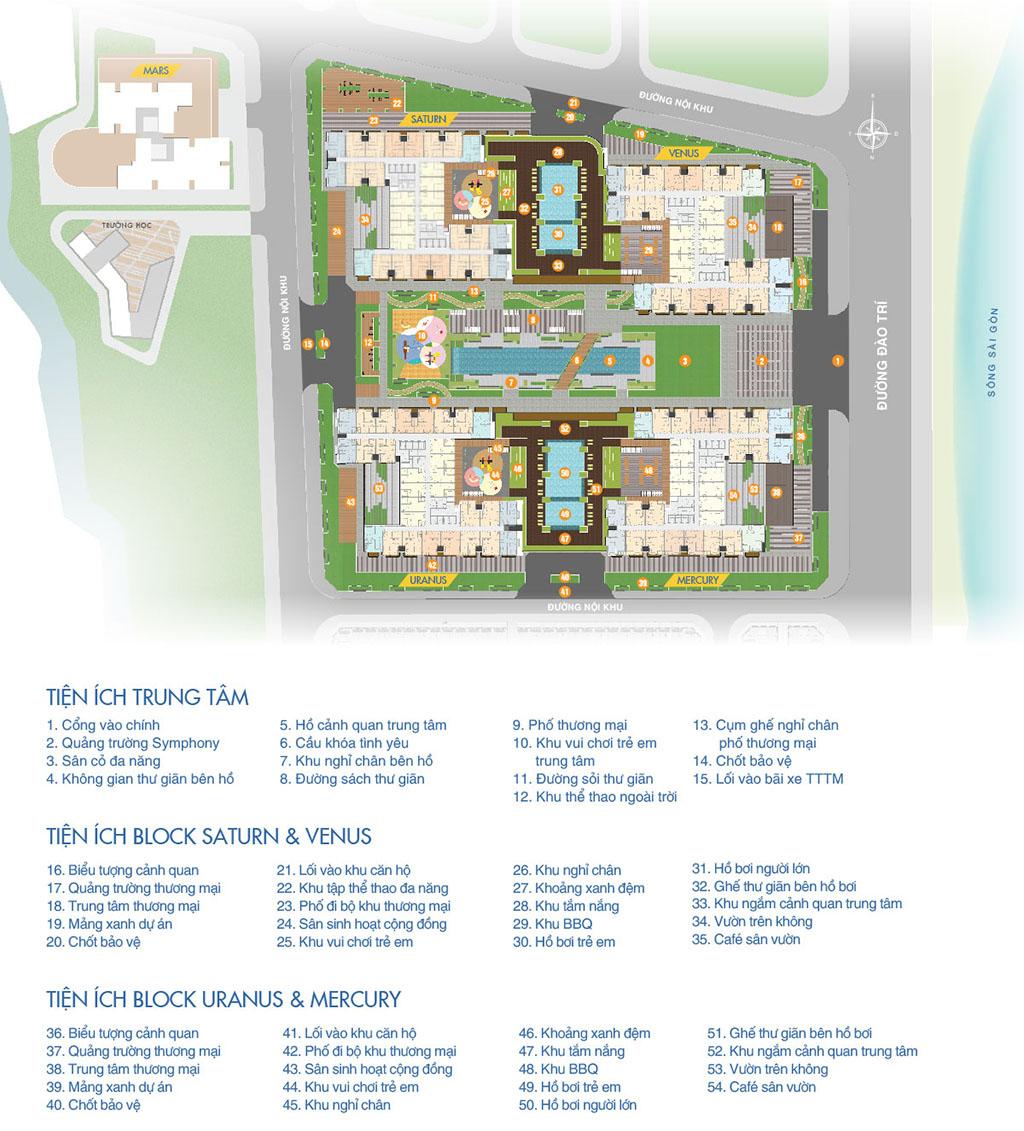 Tham khảo mặt bằng tiện ích dự án căn hộ Q7 Saigon Riverside Complex