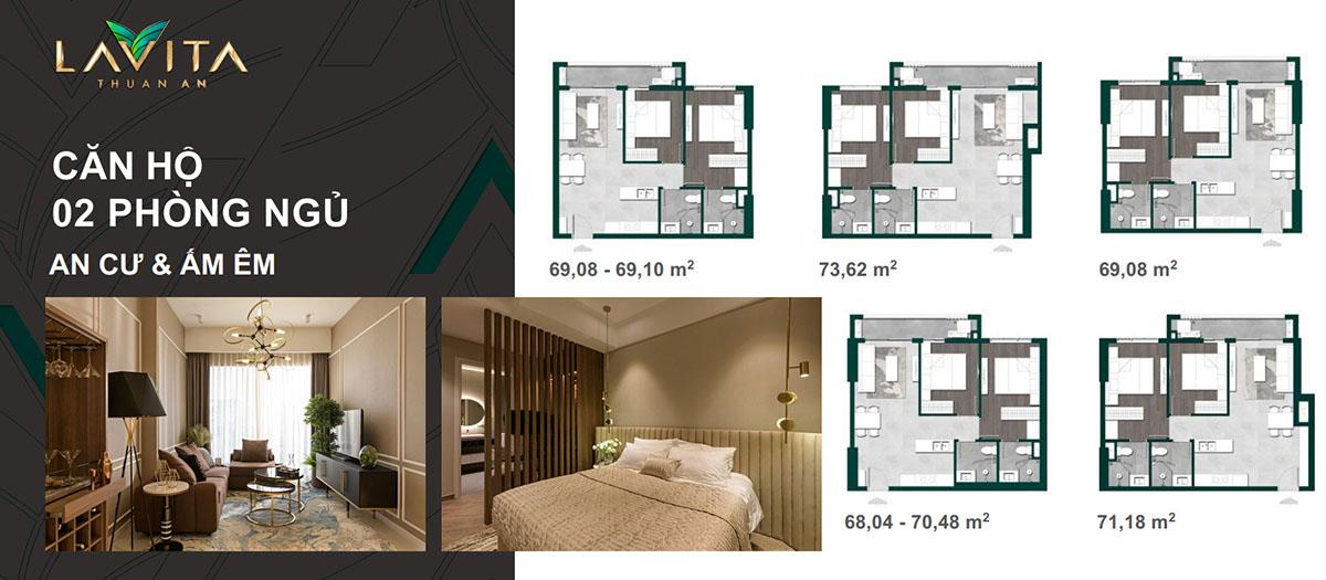 Thiết kế căn hộ 2PN Lavita Thuận An
