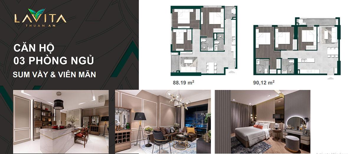 Thiết kế căn hộ 3PN Lavita Thuận An