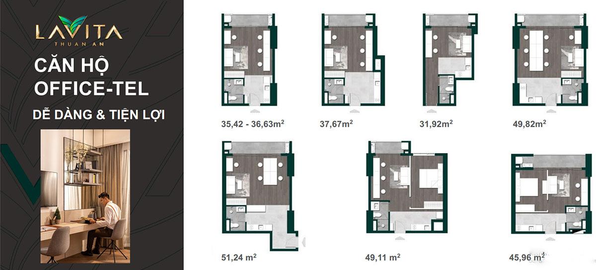 Thiết kế căn hộ Officetel Lavita Thuận An