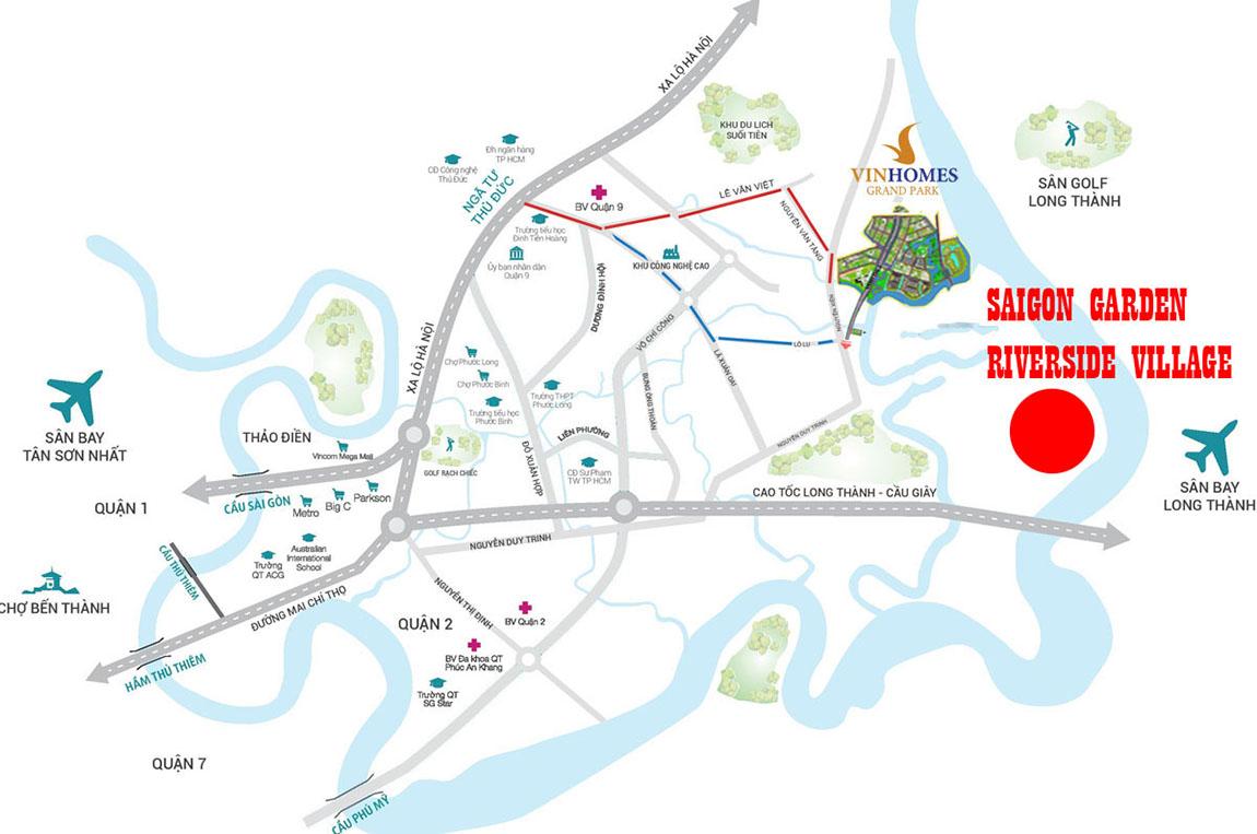 Vị trí Saigon Garden Riverside Village quận 9