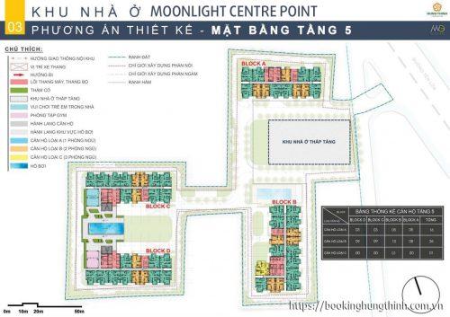 Mặt bằng tầng 5 Moonlight Centre Point khu Tên Lửa