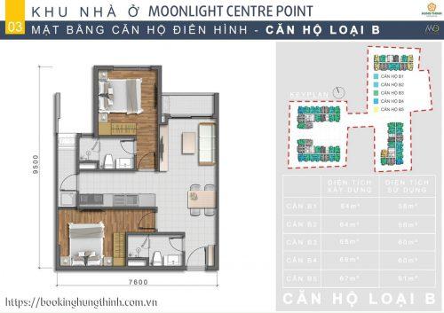 Mặt bằng căn hộ loại B Moonlight Centre Point khu Tên Lửa
