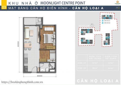 Mặt bằng căn hộ loại A Moonlight Centre Point khu Tên Lửa