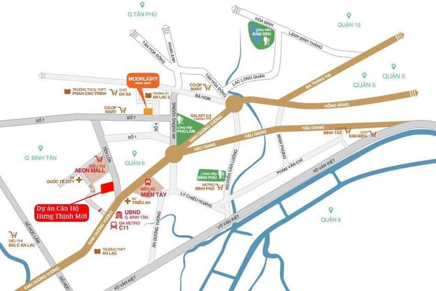 Vị trí Moonlight Centre Point Complex khu tên lửa Bình Tân