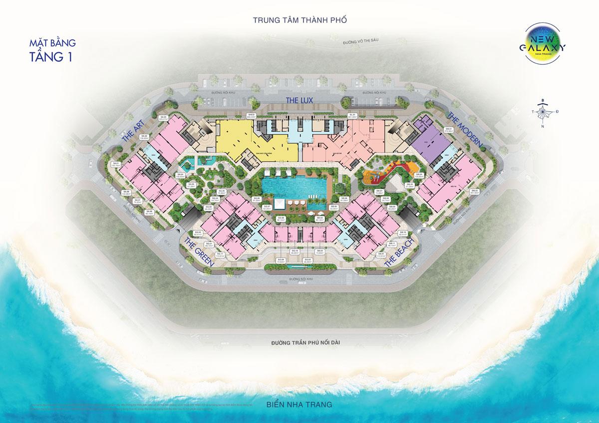 Mặt bằng tầng 1 dự án khu dân cư New Galaxy Nha Trang