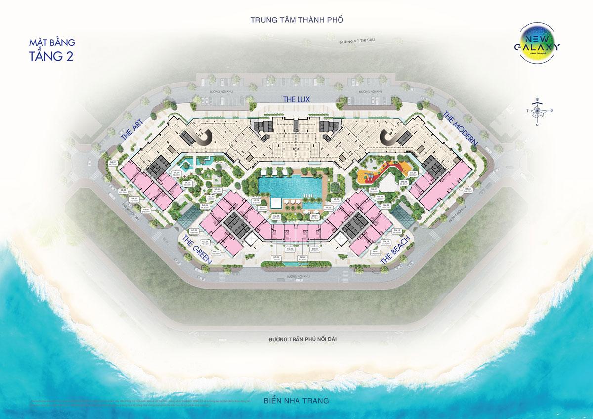 Mặt bằng tầng 2 dự án khu dân cư New Galaxy Nha Trang