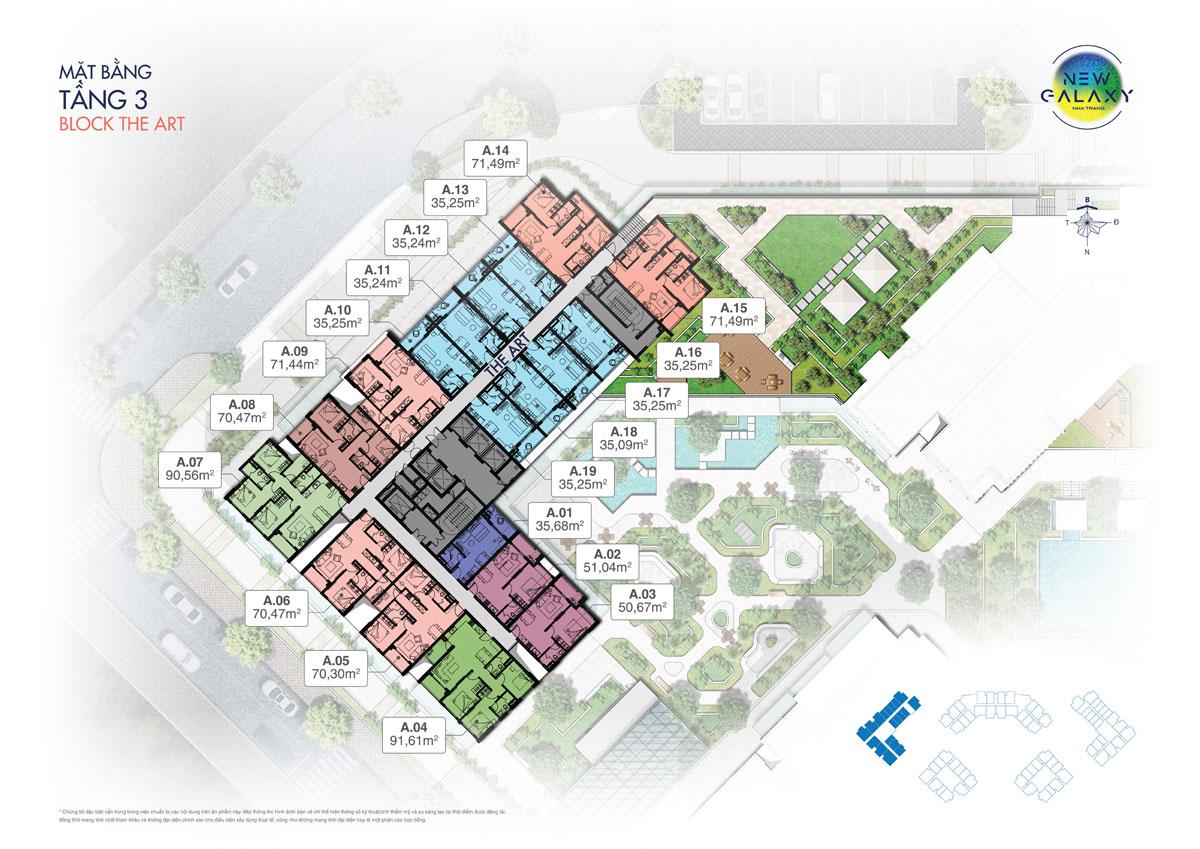 Mặt bằng tầng 3 block The Art dự án khu dân cư New Galaxy Nha Trang