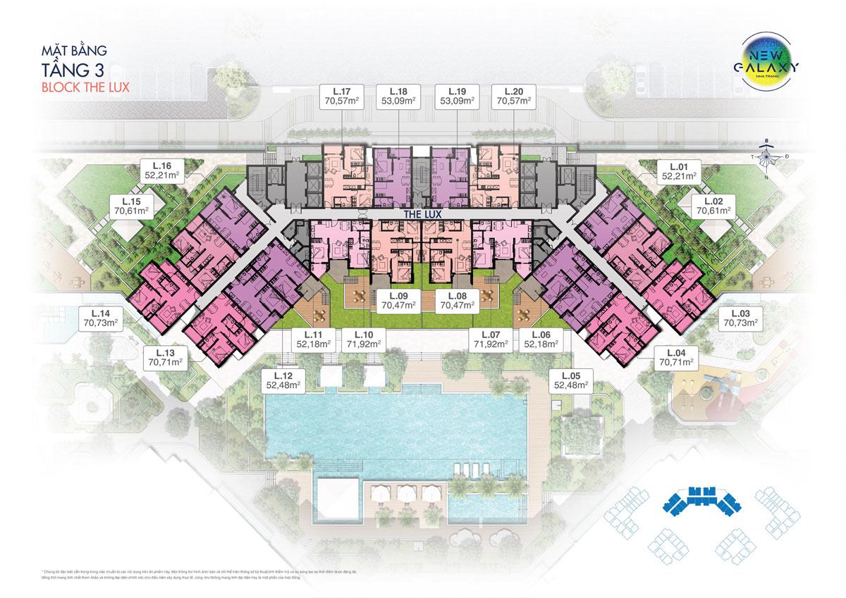 Mặt bằng tầng 3 block The Lux dự án khu dân cư New Galaxy Nha Trang
