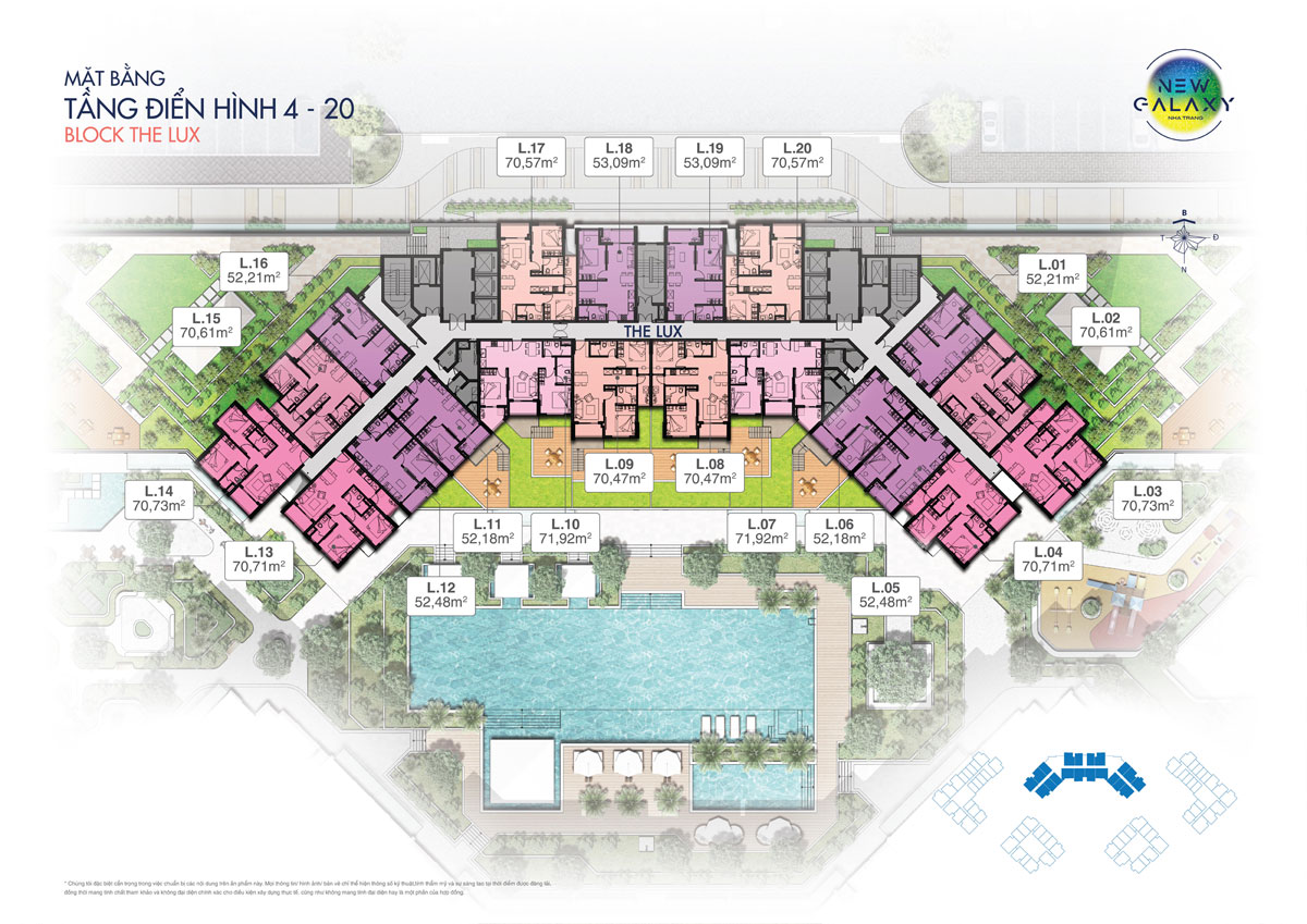 Mặt bằng tầng 4-20 block The Lux dự án khu dân cư New Galaxy Nha Trang