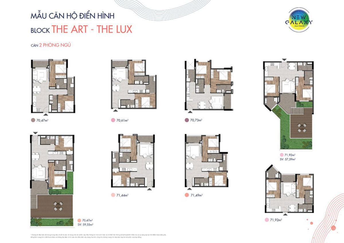 Thiết kế căn hộ 2PN dự án New Galaxy Nha Trang Hưng Thịnh